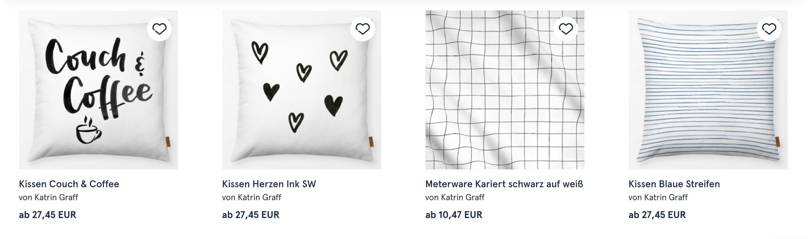 Beispiel für Heimtextilien von Katrin Graff bei Textilwerk